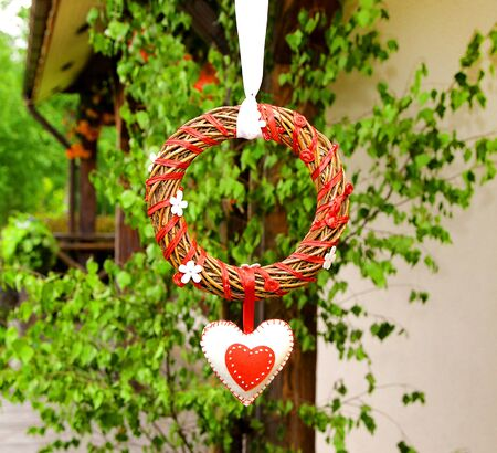 bounded: circle wedding and valentines day decoration twisted wicker bounded with red ribbon