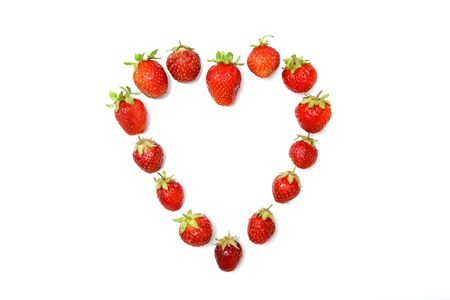 valentines day strawberry heart isolated on white background