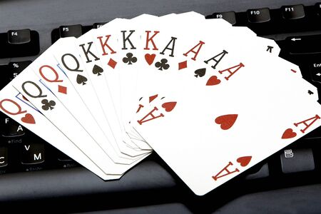 aces: internet casino poker four of kind aces cards comdination hearts on keyboard