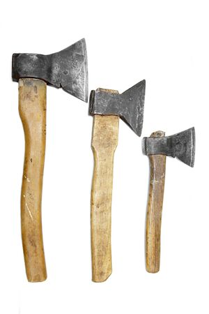 axes: axes big large medium small wooden handle working vintage isolated construction steel rusted Stock Photo