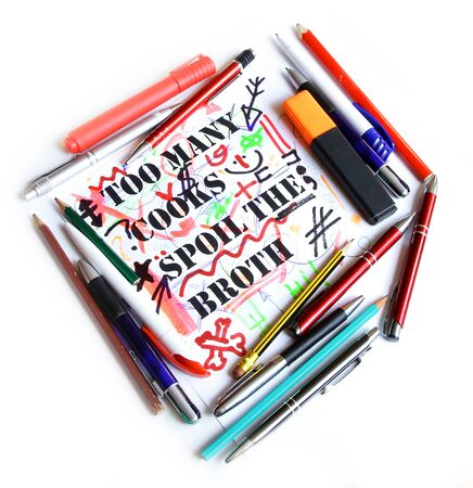 too many: Too many cooks spoil the broth proverb representing amount of pencils damaged drawing