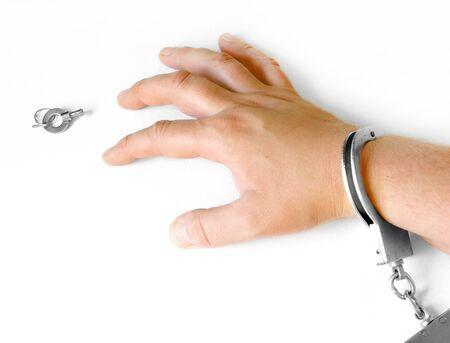 unreachable: hand in hancuffs and unreachable key