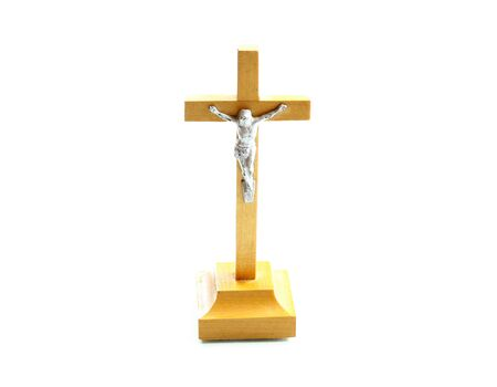 bible shepherd: very simple wooden holy crucifix jesus christ on cross white background