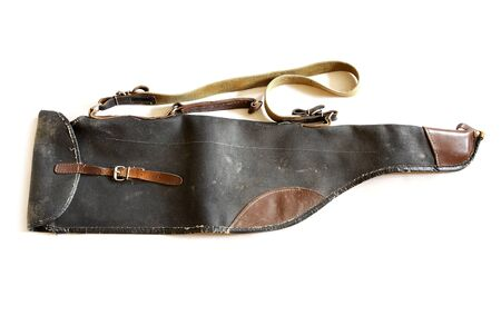 very: very old vintage shotgun bag isolated on white background