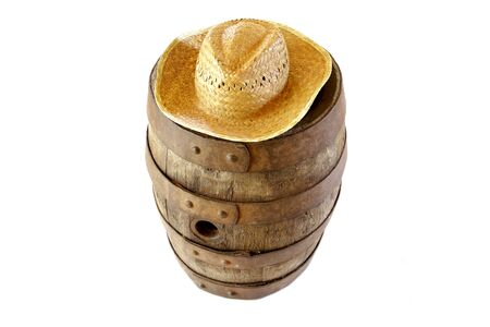 representing: Diogenes of Sinope and barrel metaphor representing very old vintage cask and straw hat