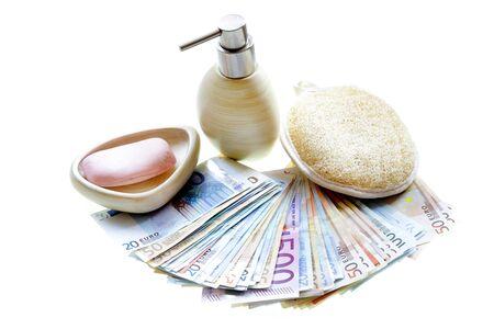 illegal: money laundering problem illegal cash euros isolated on white background