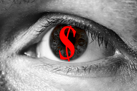 invaders: dollar money sign in big eye extreme greed illegal immigrant closeup