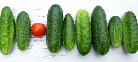 red tomato among green cucumbers saying standing out from the crowd proverb