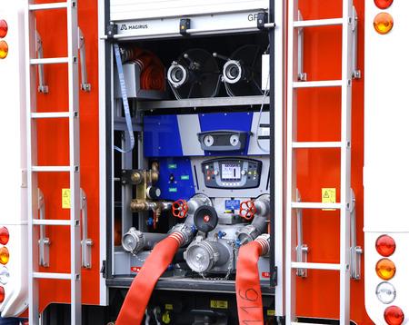fireman truck water pump compressor closeup