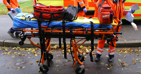 breathing mask for emergency ambulance rescue stretcher trolleys Stock Photo