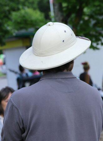 man wearing cork hat on summer day Stock Photo