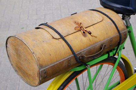 vintage wooden bicycle boot very interesting shape 스톡 콘텐츠