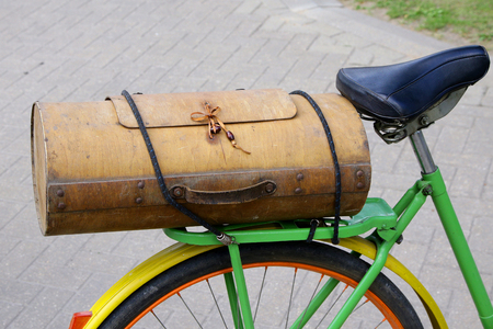 vintage wooden bicycle boot very interesting shape Stock Photo