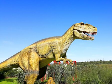 gigantosaurusdinosaur predator reptile wild jurassic park ready to attack Stock Photo