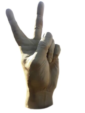 peace symbol fingers gesture against war in the world victory triumph