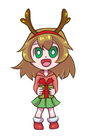 Cute Reindeer Girl give a gift Ilustrace