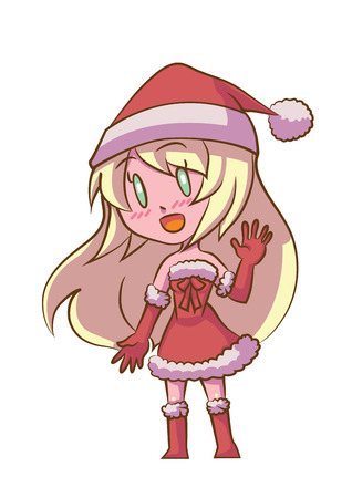 santa girl: Cute Cartoon Santa Girl Blonde Hair
