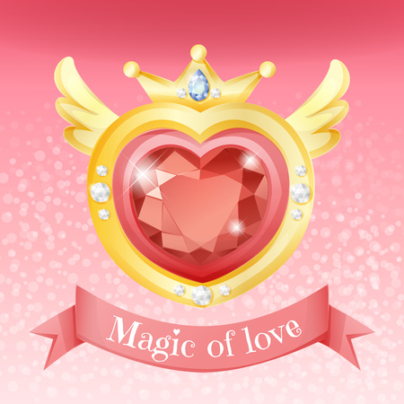 Sparkling heart gem on gold border with add diamond on shining pink background, abstract design. Illustration
