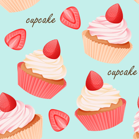 Vintage cupcake and strawberry seamless pattern on sky blue background