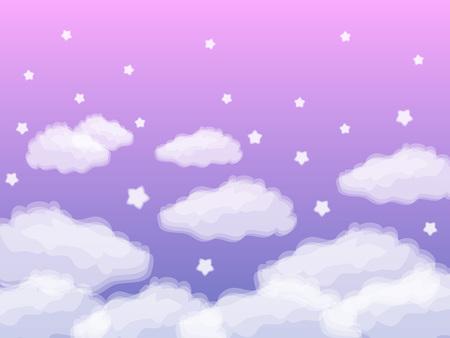 紫色の背景に白い星と雲の背景