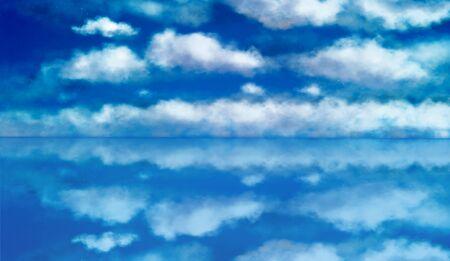 Blue sky reflecting background, illustration Stock Photo