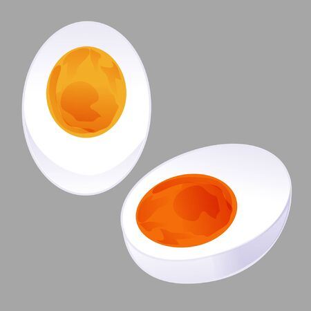 graphic half sliced boiled egg and salted egg isolated on grey background Foto de archivo - 134592186