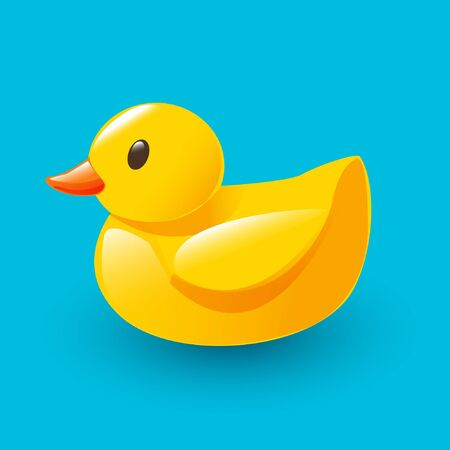 cartoon yellow rubber duck on blue background