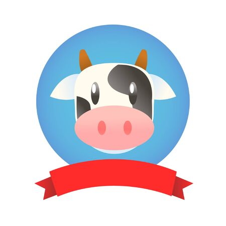 cute cartoon logo cow face graphic isolated on white background Foto de archivo - 134591835