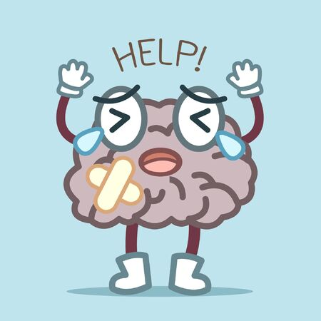 cartoon brain is hurting and find for help