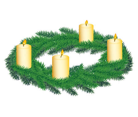 advent: Corona de Adviento con cuatro velas Vectores