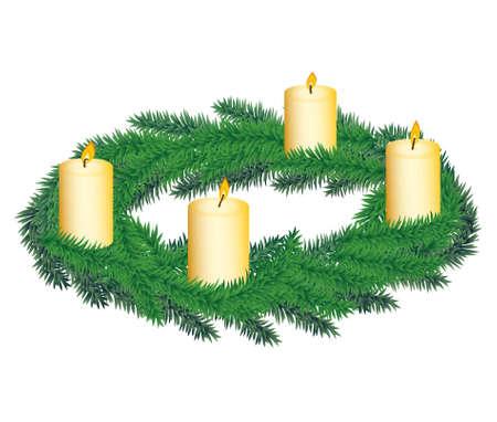 adviento: Corona de Adviento con cuatro velas Vectores
