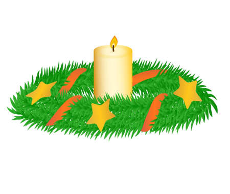 advent candles: Christmas wreath with candle