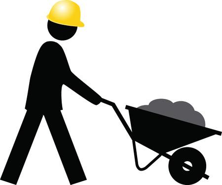 push cart: Man with helmet push cart Icon button Illustration