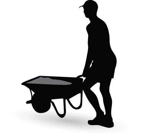 carries: construction worker silhouette carries a wheelbarrow