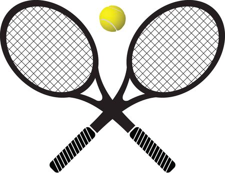 raquet: tennis rackets and ball b&w and color vector illustration Illustration