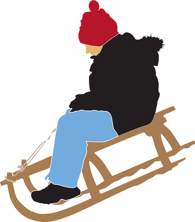 sledging: boy sledging down on the snow color vector illustration Illustration