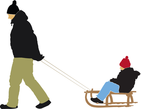sledging: Mother pulling son on sledge vector isolated on background