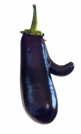 funny mutant eggplant with big nose or finger Stock Photo