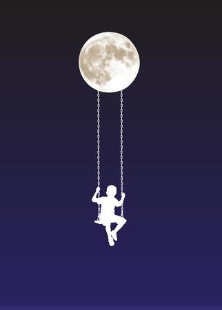 boy on a swing at moonlight vector illustration