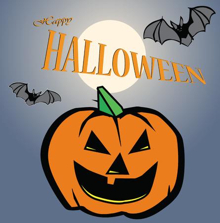 of helloween: happy Halloween pumpkin color vector illustration Illustration
