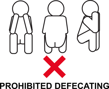 defecation: prohibited defecating sign icon vector illustration