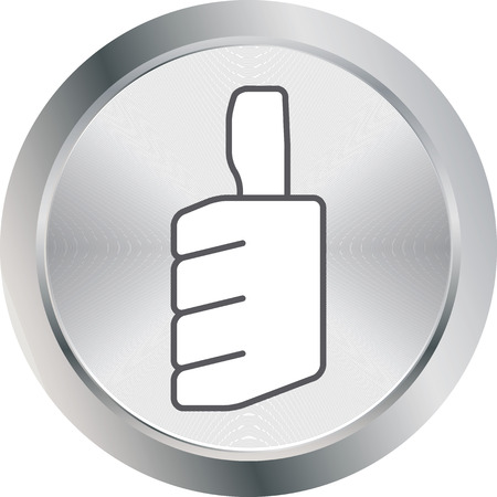 decline in values: thumbs up icon metal button vector illustration Illustration