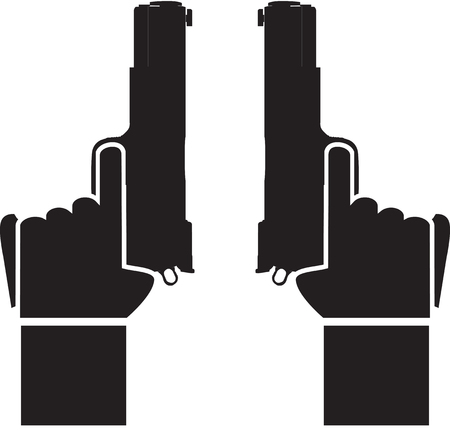 hands in the air: two guns in the hands pointing in the air