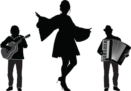 Musicians and dancer, trio, vector silhouette isolated Illustration