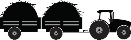 Tractor with twoo trailer silhouette vector illustration isolated Ilustrace