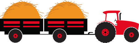 corny: Tractor with twoo trailer silhouette color vector illustration isolated