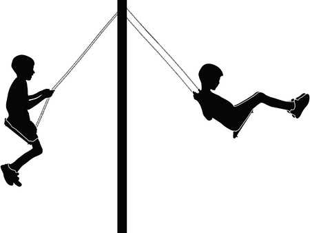 Boys swinging on a swing in the park silhouette vector illustration