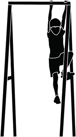 clamber: boy climbing a jungle gym at the park vector silhouette illustration Illustration