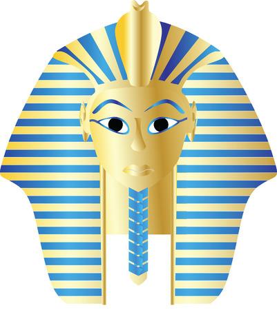 esfinge: Ilustración de vector de retrato de faraón de oro de estilo egipcio Foto de archivo