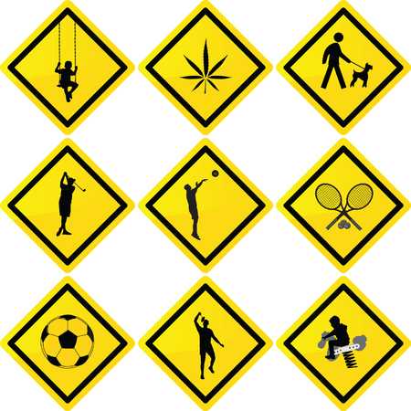 sport and recreation yellow rectangular signs vector illustration